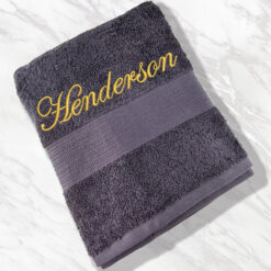 Personalised Grey Bath Sheet with name