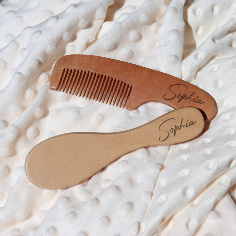 Wooden Brush and Comb with Personalised Name