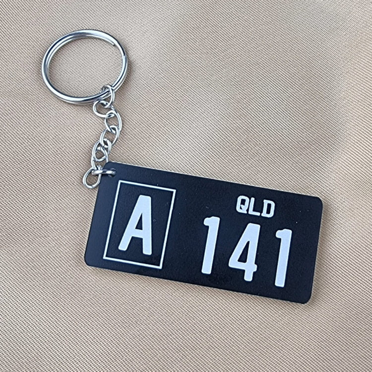 Style D PlateIt© Licence Plate Keychain - All Colours
